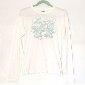 JUICY COUTURE LONG SLEEVE WHITE SHIRT BLUE LETTERS